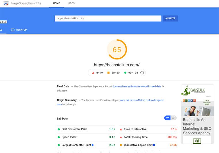 Aproveche la versión gratuita de PageSpeed Insights Cloud Flare en el sitio web de Beanstalk.