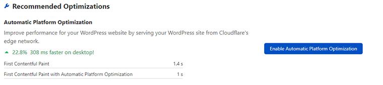 Active la optimización automática de la plataforma en Cloud Flare.