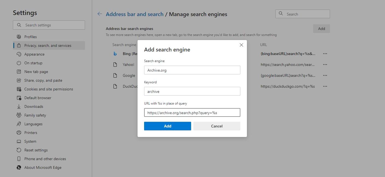 Agregue una nueva opción de motor de búsqueda a la barra de direcciones de Edge.