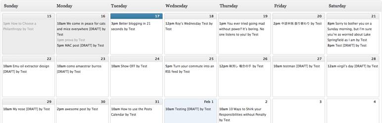 Complemento de WordPress para la edición de calendarios