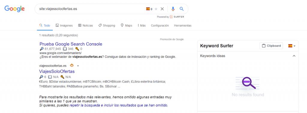 La búsqueda de resolución de nombres de dominio vencida todavía está en el índice de Google