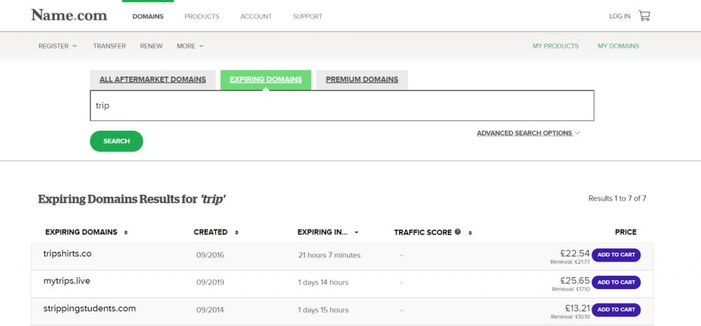 Busque y encuentre nombres de dominio caducados