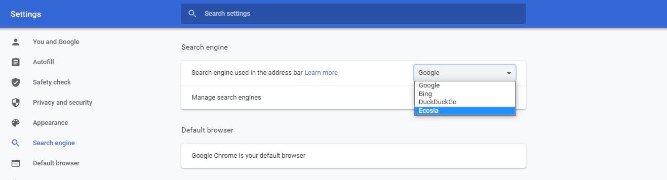 Seleccione el motor de búsqueda utilizado en la barra de direcciones.