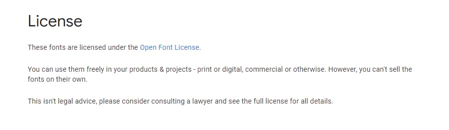 Abra la licencia de la fuente.