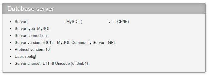 Verifique la versión de MySQL phpMyAdmin