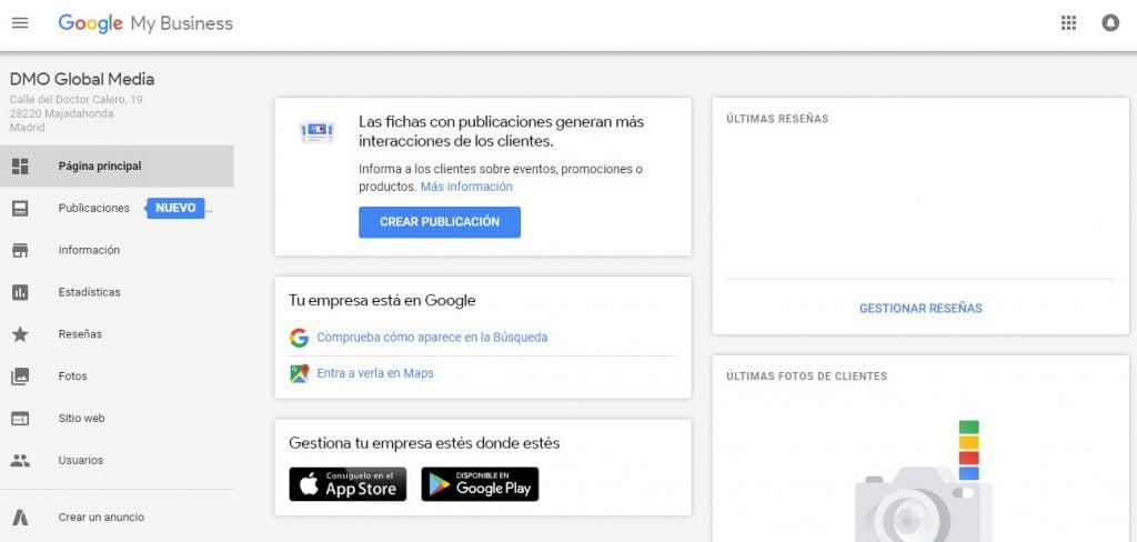 Posicionamiento en la optimización de motores de búsqueda locales Google My Business