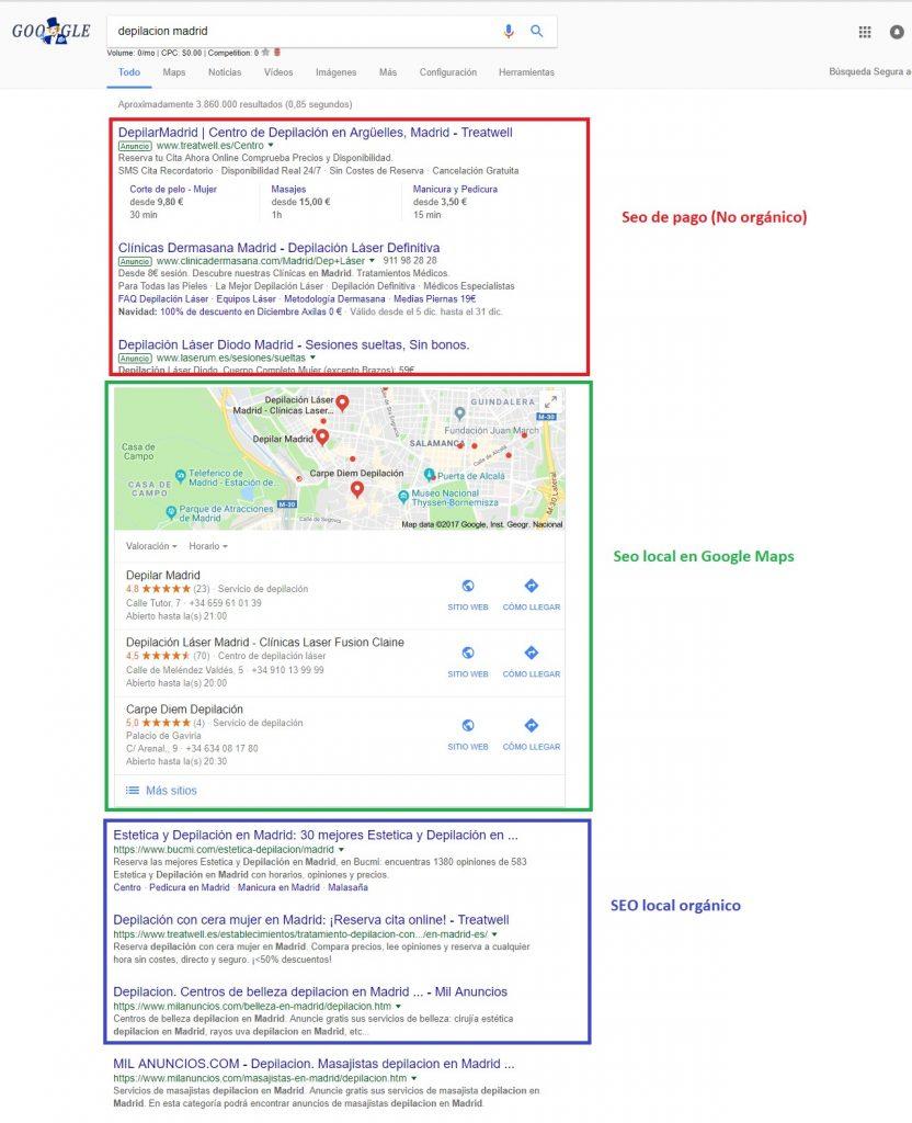 Posicionamiento de resultados de Google de optimización de motor de búsqueda local