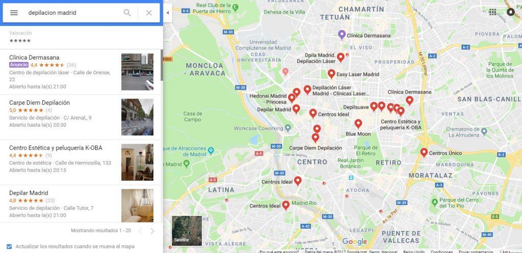 Encuentre una tarjeta de resultados de Google en un motor de búsqueda local