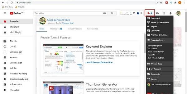 Herramienta de búsqueda de palabras clave de Youtube Pantalla de control de TubeBuddy