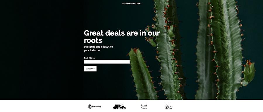Plantilla gratuita para página de destino de MailChimp Gardenhouse