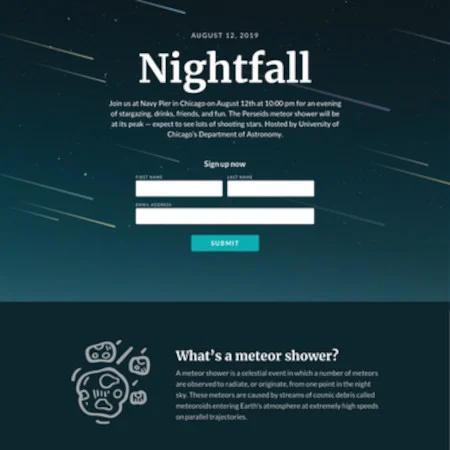 Nightfall es una de las mejores páginas de aterrizaje gratuitas de bienes raíces.