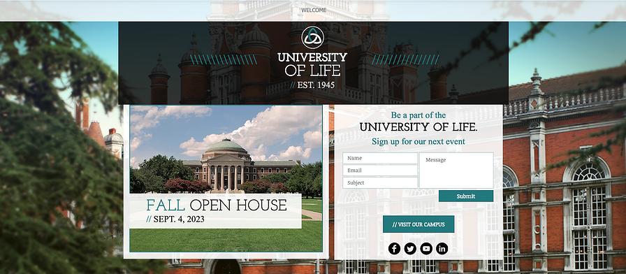 College es una plantilla de página de destino bien diseñada que se puede utilizar para atraer estudiantes.
