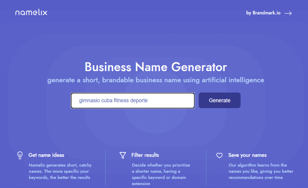 Elija el nombre de su empresa con namelix