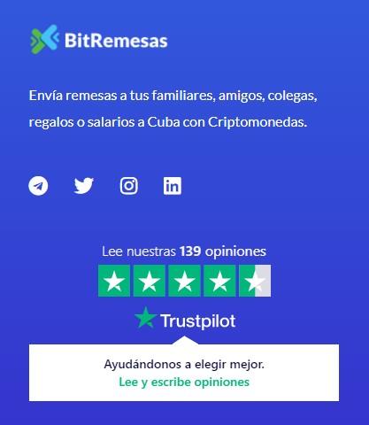 BitRemesas, un sitio cubano utiliza Trustpilot