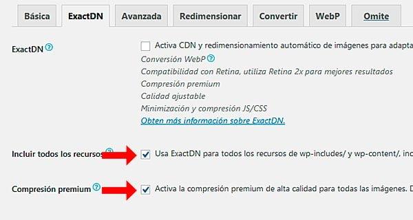 Opciones de configuración de ExactDN