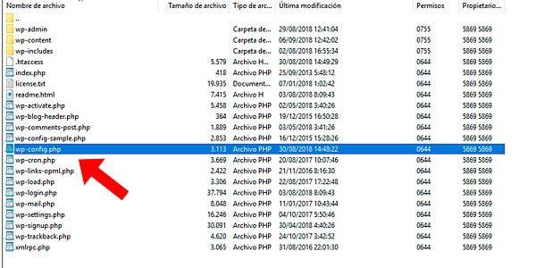 Archivar la configuración de wp