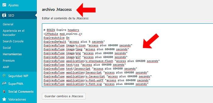 Edite el archivo .htaccess