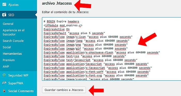 Editar archivo htaccess