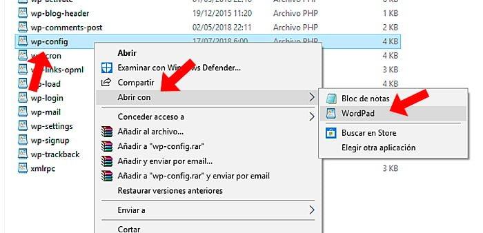 Cambiar la configuración de wp