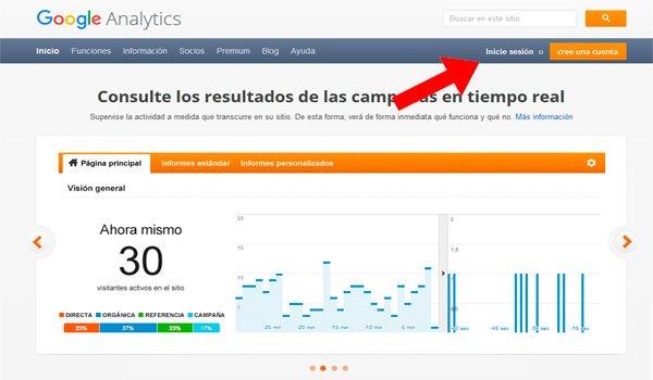 Iniciar sesión en Google Analytics