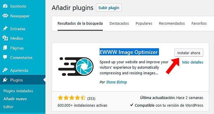 Instale el complemento de optimización de imágenes WWW