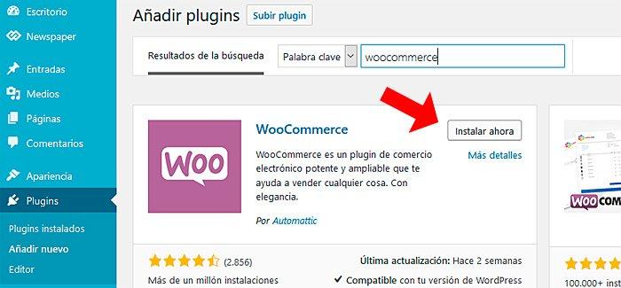 Instale el complemento Woocommerce