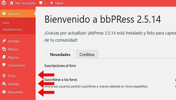 Pestaà ± del complemento bbPress
