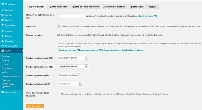 Área de configuración del complemento optimizador de imágenes EWWW